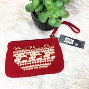 NWT Red PVC & Christmas Sweater Reindeer Wristlet